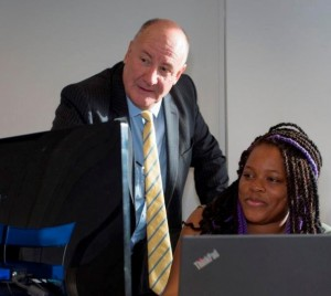 Steve Clarke with Enitan Aromolaran from CJCH's anti-piracy team.