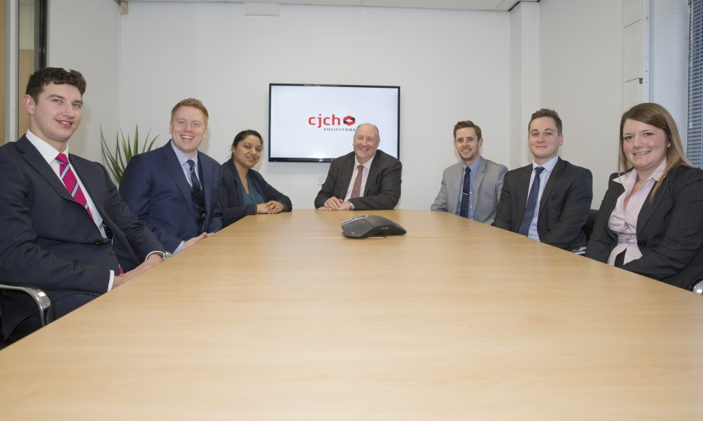 CJCH trainee solicitors at CJCH offices in Cardiff. (Left to right) Max Wootton, Andrew Windross, Mahbuba Ali, Stephen Clarke, Craig Mills, Sam Pearson, Rebecca May.
