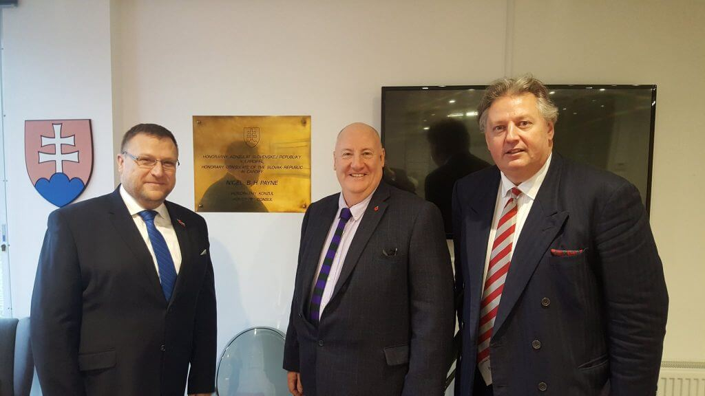 His Excellency Lubomír Rehák, Honorary Slovak Consul Wales Mr. Nigel Payne, and CJCH Senior Partner Stephen Clarke